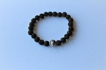 Armband zwarte Lava met Leeuwenkop