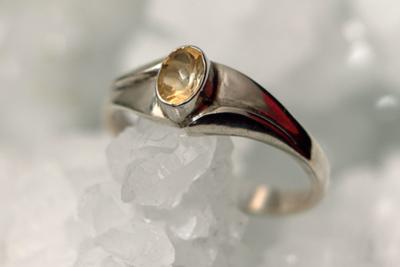 Citrien Zilveren Ring