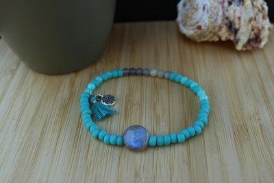 Armband labradoriet en blauwe kralen